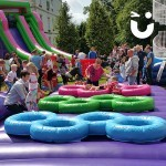 The Assault Course Tyres during a family fun day