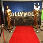 Hollywood Theming Hire backdrop with two of our Oscar probs either side and red carpet in front