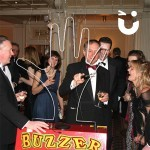 Guests at a corporate events evening with the Hand Buzz wire Hire