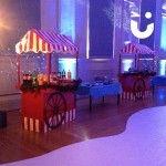 Our festive wooden carts with Christmas themes fairy lights