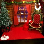 Meet and greet santa with his green and gold chair