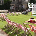The Deckchair Hire in front of the Sumo Suit Hire