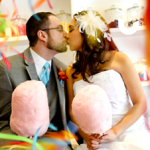 A couple at a wedding with our Candy Floss