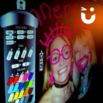 two guest have had their photo placed on the Graffiti Wall screen which guests have then 'painted' using the infrared spray cans