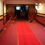 Red Carpet and Stanchions 8m Hire for an indoor cinema event