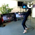 A guest embraces the technology of Virtual Reality, an experience hired from Sunshine Events for an indoor corporate event.
