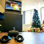 Christmas and Virtual Reality go hand in hand as the image showcases our VR Experience set up amidst a Chirstmas themed event