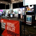 The Virtual Reality Experience set up for NBG's exhibition stand, used to entice and engage guests at their recent promotional event