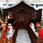 Snowy indoor setting for the Santa's Wooden Grotto