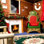 Wooden Facade in santas grotto with Fireplace
