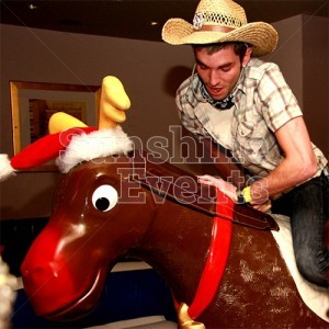 Rodeo Reindeer with flashing red nose