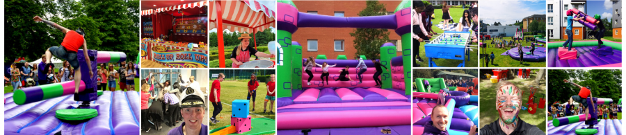A banner image showing many images from University events where students and lecturers are enjoying fun event equipment